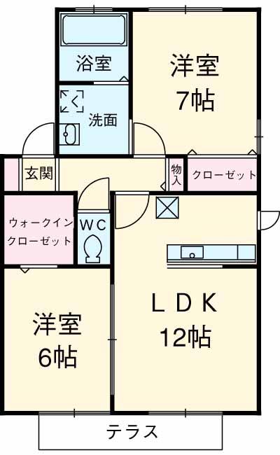 Villa・RyutakuⅢ・102号室の間取り