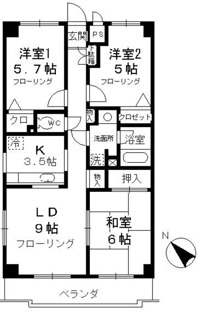 チェリーコート武蔵小金井・503号室の間取り