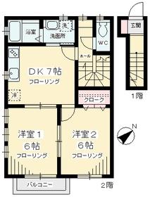 ビオトープ桜丘-A棟・A201号室の間取り