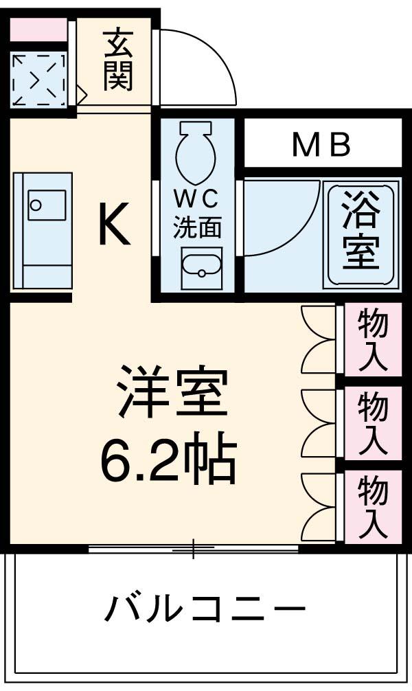 ヴィルラフィーネ東新宿・206号室の間取り