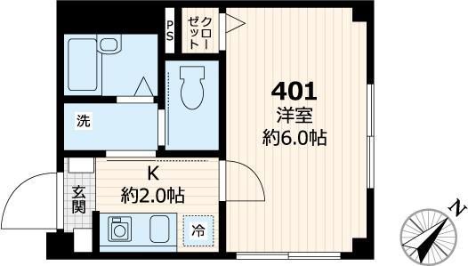 メゾン・ド・フタバ・401号室の間取り