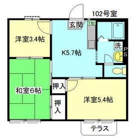 パークサイドハウスA棟・102号室の間取り