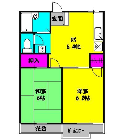 コーラルハイム平塚 202号室の間取り