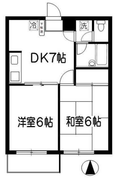 武蔵ハイツⅠ・308号室の間取り