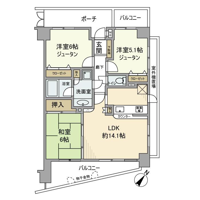 月島パインマンション 504号室の間取り