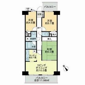 ライオンズマンション西八千代・907号室の間取り
