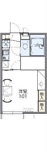 レオパレス平成・104号室の間取り