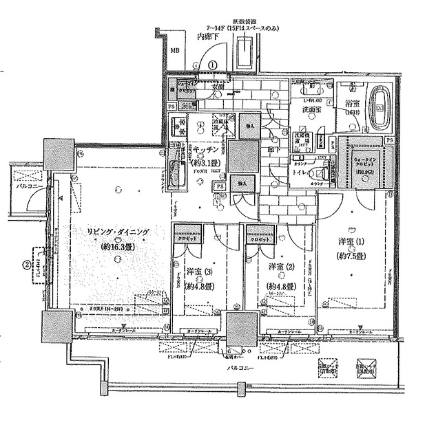 王子飛鳥山ザ・ファーストタワー&レジデン・24F号室の間取り