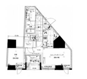 ベルドゥムール東京八丁堀・405号室の間取り