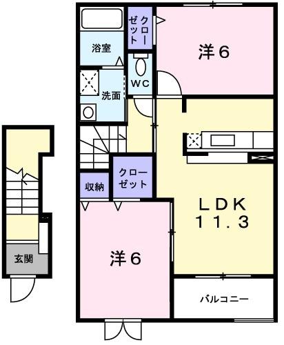 プロムナードⅡ・02020号室の間取り
