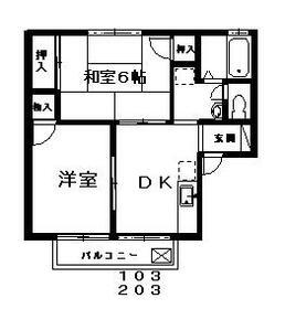 グリーンヒル湘南・0203号室の間取り