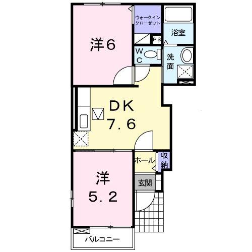 サニーハウス B・01020号室の間取り