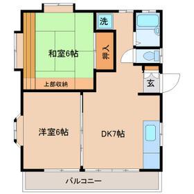 篠宮ハイツA棟・201号室の間取り