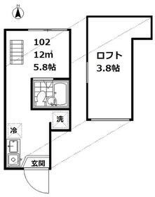 インベスト大井Ⅱ・102号室の間取り