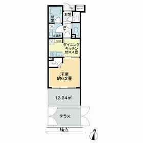 グローベル東高円寺レスティアーナ・106号室の間取り