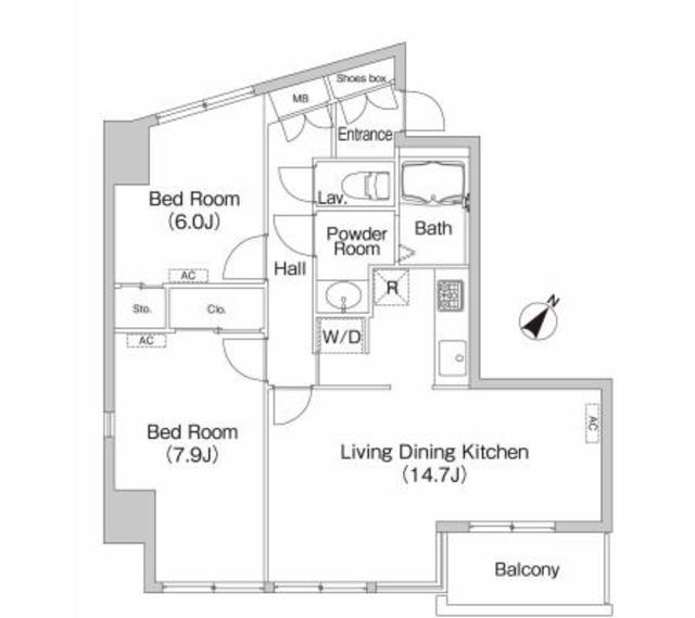 芝二丁目ハウス・401号室の間取り