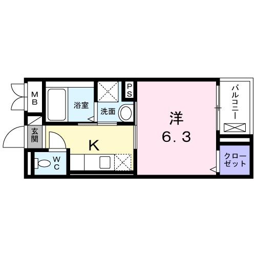 フェリスティ竹沢・04020号室の間取り