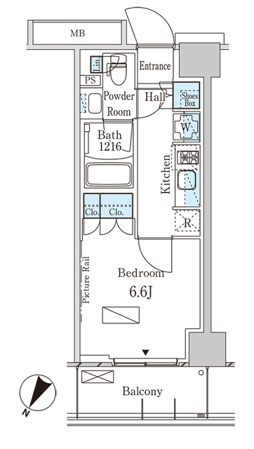 パークアクシス横浜大通り公園・1012号室の間取り