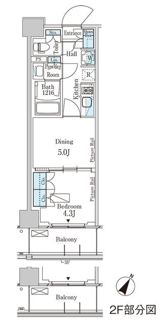 パークアクシス横浜大通り公園・405号室の間取り