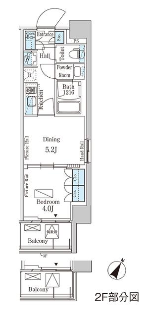 パークアクシス横濱大通り公園 408号室の間取り