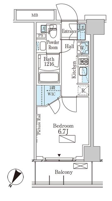 パークアクシス横浜大通り公園・414号室の間取り