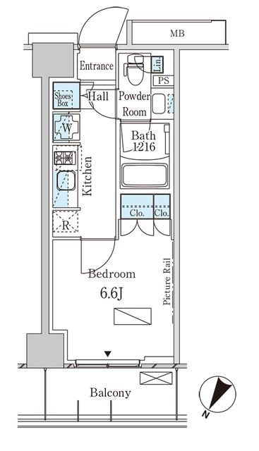 パークアクシス横濱大通り公園 515号室の間取り