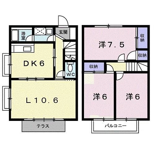 グリーンヒル 浄明寺 弐 01050号室の間取り