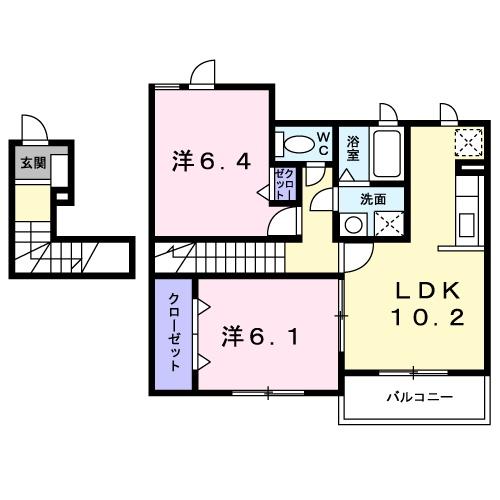 アルモニ-B・02030号室の間取り