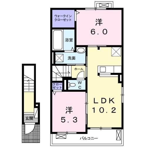 クレメントハウスB・02030号室の間取り