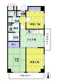 竹ノ塚スカイパーク・501号室の間取り