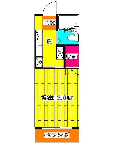 グランデュール本川越 205号室の間取り