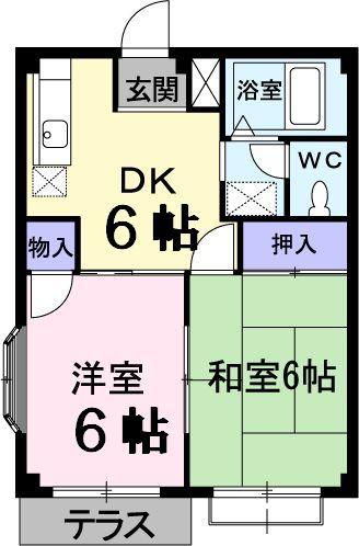 コーポ篠田・01030号室の間取り