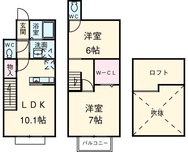 犬猫桜A・A-105号室の間取り