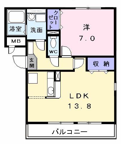 さくらアパートメントB・02020号室の間取り