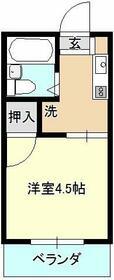 ベイルーム下倉田・1C号室の間取り