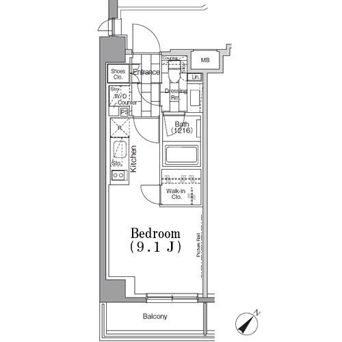 パークハビオ月島・610号室の間取り