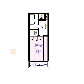 ヨコハウスE・206号室の間取り