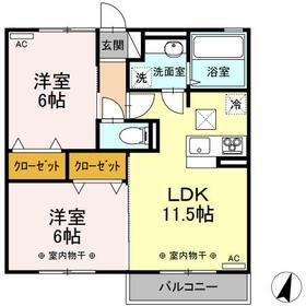 (仮)D-room伊佐山・102号室の間取り