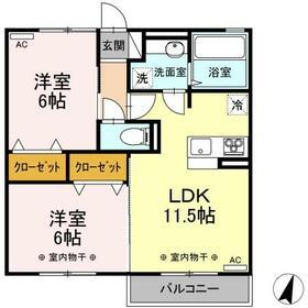 (仮)D-room伊佐山・202号室の間取り