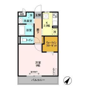 D-Room八反野・107号室の間取り