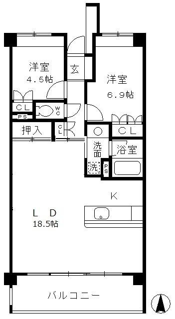パークホームズ覚王山 SOUTH・404号室の間取り