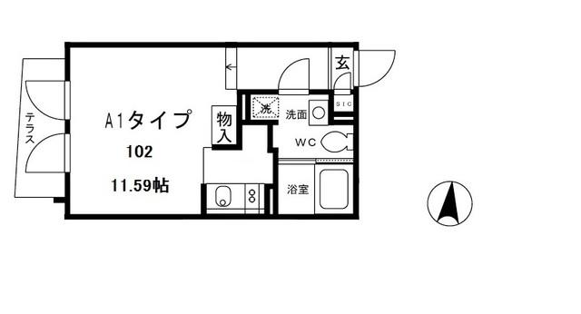 ALERO白山Ⅱ・102号室の間取り