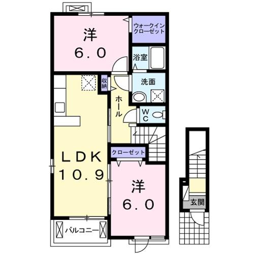 スカイッシュハウスⅡ・02010号室の間取り