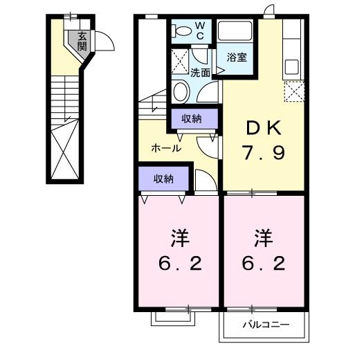 ORBLY MINAMI 1・02010号室の間取り