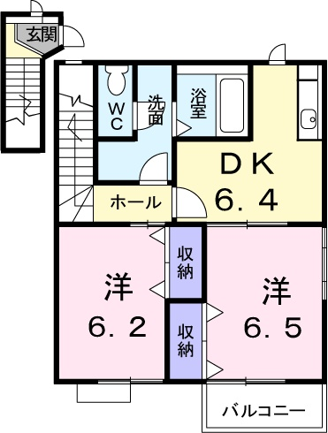 スカイハイツK A 02010号室の間取り