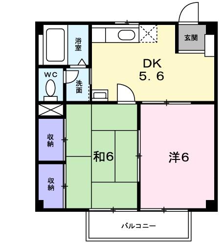 サニーハイツ楠 B・02020号室の間取り