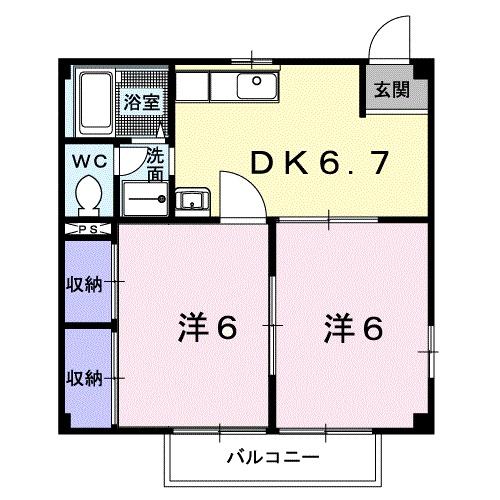ミューズ松本Ⅴ 02010号室の間取り