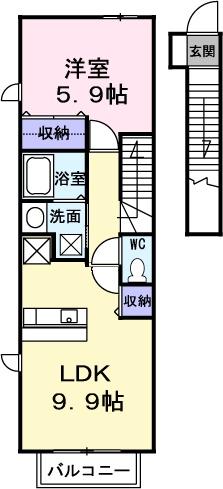 サンシャイン 桜川 A・02020号室の間取り