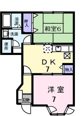 メゾンソレイユⅠ・01020号室の間取り