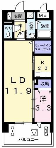 カーサ・ル・コットン・06030号室の間取り